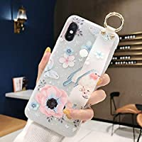 Xiaomi Redmi Note 6 Pro Semi-Transparent Floral Flower Pattern Cover for Girls Women TPU Silicone Wrist-Band & Mental Ring Case