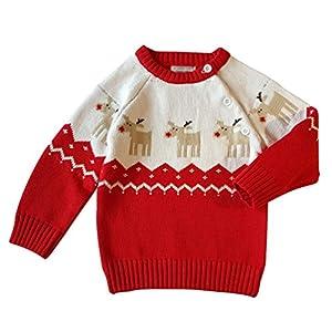 YuanDian Bebé Unisex de Punto Navidad Suéter Manga Larga Invierno Calentar Pullover Jersey 11