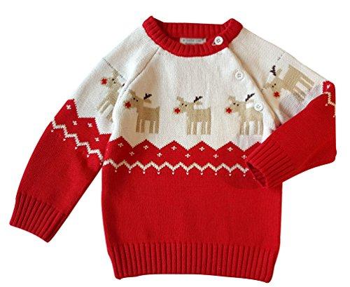 YuanDian Baby Unisex Pullover Stricken Weihnachten Langarm Elche Warme Sweater Pullis Rot 90 (80-90CM) (Baby-jungen Pullover Stricken)