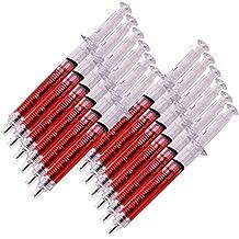 TE-Trend 12 Piezas Bolígrafo Jeringuilla Spritzenkugelschreiber Carnaval Revestimiento Accesorio Boli Rotulador 13cm Rojo Transparente
