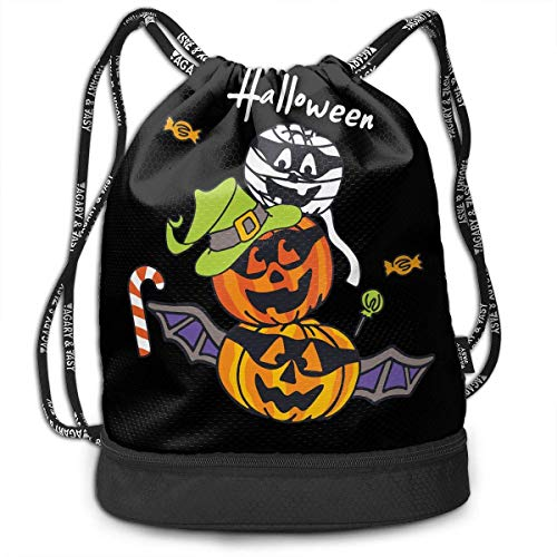 Party Spooky Bat Fashion Beam Mouth Shoulder Bag Travel Drawstring Backpack Shoulder for Unisex ()