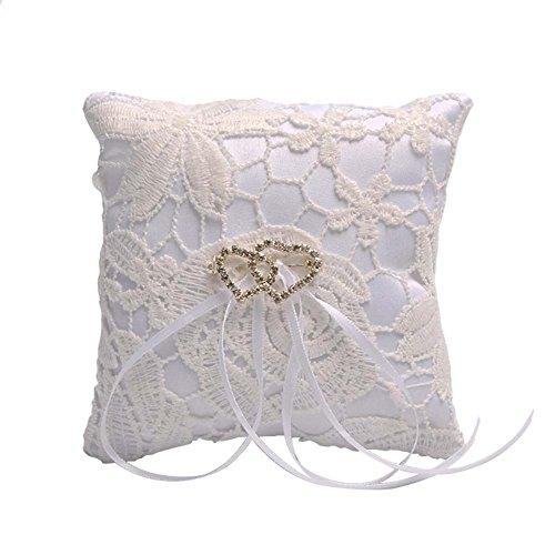 Qinlee Boda Anillo Almohada Doble corazón Anillo de Matrimonio Cojín Vintage Romántico Anillo Cojín con Lazo Elegante satén