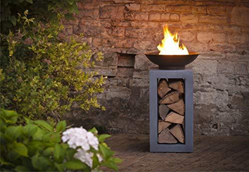 Ivyline Feuerschale und quadratische Konsole, 68 cm, Zement