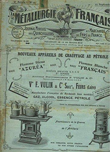 la-metallurgie-francaise-journal-mensuel-des-quincailiers-et-marchands-de-fers-de-france-n-21-15-septembre-1917-centralisation-des-importations-anglaises-d-39-aciers-ordinaires-autres-que-les-importations-directes-de-l-39-etat-fers-a-cheval-et-a-boeufs