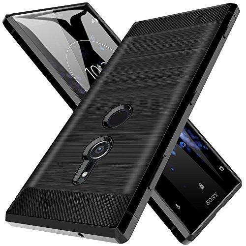 LK Hülle für Xperia XZ2 , Gebürstet Silikon Weich Schwarz Carbon Hülle für Sony Xperia XZ2 Case Cover (Schwarz)