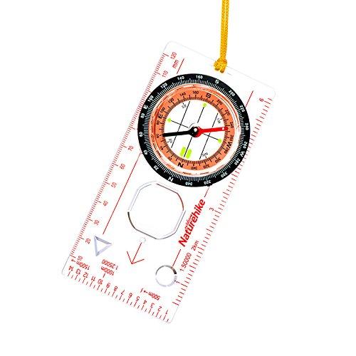 Lugii Cube extérieur multifonction Camping directionnelle Simplifient Boussole Règle Embase Map Scale Compass de randonnée de course avec fond noir Sac de rangement