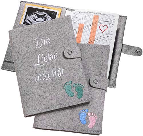 Mutterpasshülle aus Wollfilz mit Blau/Rosa oder Grünen Füßen - Idealer Schutz der Dokumente deiner Schwangerschaft- Hülle für Mutterpass