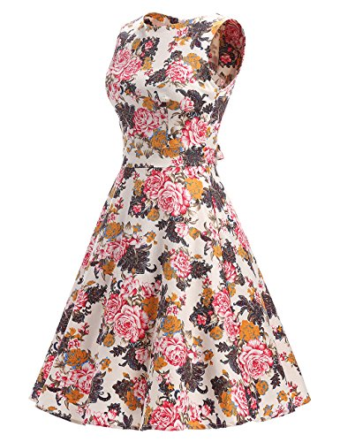 MicBridal®robe de rockabilly courte robe vintage années 50 Classique Vintage 1950S Style pour femme Robe de Cérémonie Soirée Cocktail Blumen A