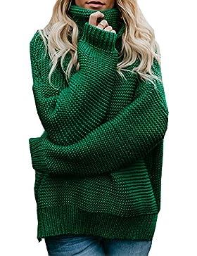 ShallGood Mujer Otoño E Invierno Jersey Long Pullover Suéter Punto Texturizado con Cuello Alto Elegante Clásico...