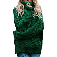 a9b881bc70af0 ShallGood Femme Hiver Manches Longues Col Haut Pull Sweater Tricotés  Pullover Casual Loose Pull Basique Tricoté