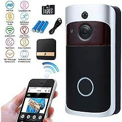 Nestling® Sonnette vidéo,720P HD Sonnette WiFi sans Fil avec 16G Carte,Conversation bidirectionnelle,détection de Mouvement en Temps réel,Commande à Distance pour app pour iOS/Android