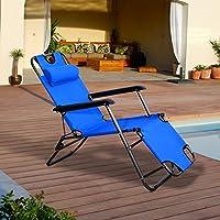 Tumbona Plegable Inclinable Acero con Almohada Textilene Resistente Relax en Jardín Exterior Piscina Terraza Camping Azul