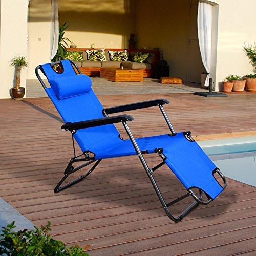 Outsunny Tumbona Reclinable y Plegable de Jardín - Color Azul - Tela Oxford y Acero - 153x60x29cm