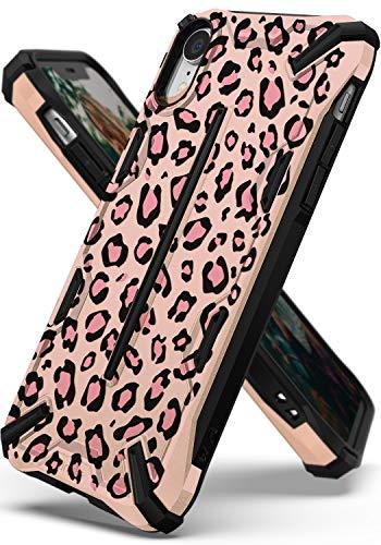 Ringke Dual-X Design Kompatibel mit iPhone XR [Leopard Pink] PC TPU Dual Layer Kratzfest Bewehrt Schwerlast Cover Stoßfest Case Ergonomisch Robust Stylish Panzer Handyhülle für iPhone XR Schutzhülle Leopard Rosette