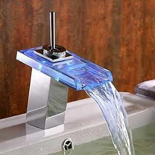 bobo Farbwechsel LED Waschbecken Wasserhahn mit Glasauslauf (Wasserfall)
