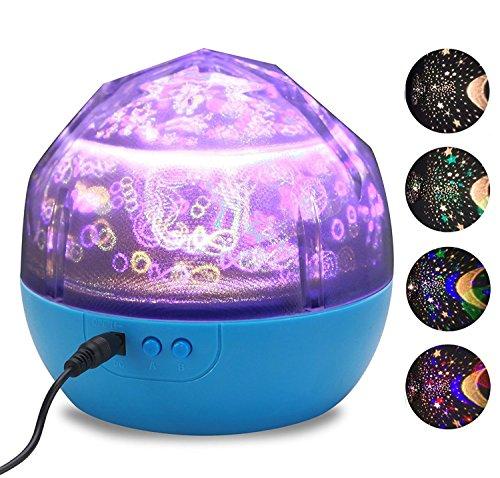 BestFire Forma portatile magica lampada del proiettore di diamante ha condotto il proiettore della stella (3 cambia colore, rotazione di 360 gradi, 3 Progetto Cinema variabile: Stars / Mare / Compleanno, 3 luminosità dimmerabili, batteria USB alimentato) I bambini del proiettore di notte della luce (blu)