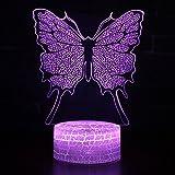 TechCode 3D Lampe LED Licht, Schmetterling 3D Illusion Lampe Nachtlicht Modell Dekoratives Licht 7 Farben Schalter von Smart Touch Button und Remote Kreative Geschenk Home Office Dekorationen(A27)