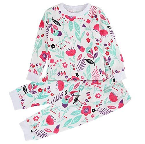 Mombebe pigiama bambino ragazze natale inverno fiore abbigliamento set (fiore, 18-24 mesi)