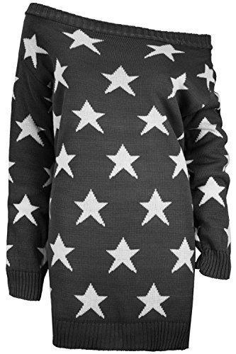 Oops Outlet Womens aus der Schulter Top Damen Sterne Bardot Strick Übergröße Kleid Pullover - Dunkelgrau, Übergröße XXL (48/50) (Pfirsich-strick-pullover)