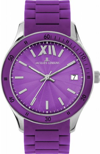 Jacques Lemans Unisex Rome Sports Wrist Watch 1-1622K with Purple Silicone Strap