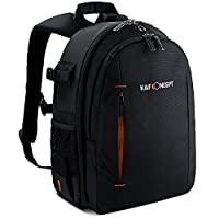 DSLR Backpack,K&F ConceptŽ Multifunctional Security Camera Backpack Waterproof Organizer Rucksack with Rain Cover for Laptops Tablets Canon Nikon Camera Accessories Black for Men/Women