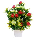 #2: PG Creations Artificial Flowers with Vase For Office | Home Decoration, Rose, Red, White, Medium, Set of 1