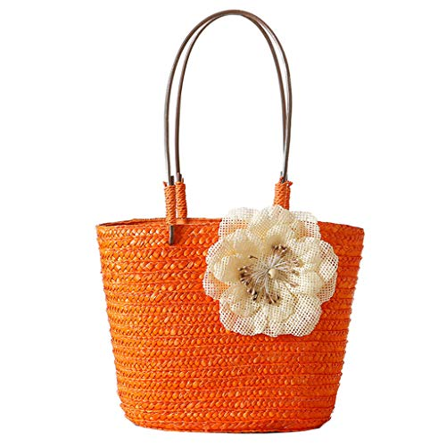 chenpaif Summer Beach Handtasche für Frauen Mädchen Blumen Stroh Tote Drawstring Purse Schultertasche Orange -