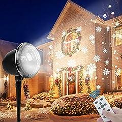 Idea Regalo - Fenvella Proiettore Luci Natale, Proiettore Natale Esterno Impermeabile IP65, Luci Proiettore Fiocco di Neve Multi Modi con Telecomando, per Natale Decorazione Interno & Esterno Festa Spettacolo