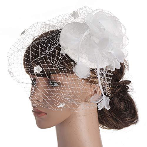 Fascinators Hut Stirnband Feder Große Blumen Haarband Tea Party Mädchen Frauen Hochzeit Braut Fascinator Hut Braut Kentucky Derby Stirnband Für Royal Ascot Cocktail ( Color : White ) (Custome Tanz Kostüm)