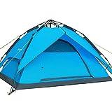 Automático Hidráulico Pop Up Camping tiendas de campaña, lluvia de dos pisos mochila deportes al aire libre Camping senderismo viaje tienda de campaña para la playa, ideal para 3A 4persona, color azul, tamaño 240cm x 210cm x 140cm, capacidad para 4 personas