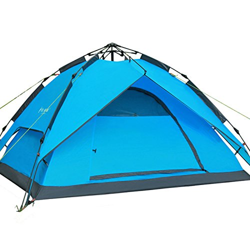Automatic Hydraulic Pop Up Camping Tents, Double-deck Rain-proof Backpacking Outdoor Sports Camping Hiking Travel Beach Tent, Ideal for 3 to 4 person (Blue)