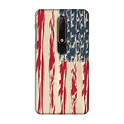 Usa Flag Kit (AMZER Slim Fit Handcrafted Designer Printed Snap On Hard Shell Case Back Cover with Screen Cleaning Kit Skin for Nokia 6.1 2018 - USA Flag- Paint Splashes HD Color, Ultra Light Back Case)