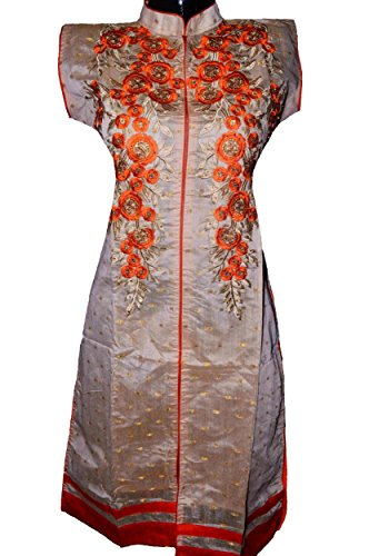 Rajasthan Collection Premium Designer Chanderi Silk Cotton Kurti, Stylish Golden Thread Work...