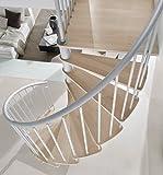 Intercon® Flamenco Spindeltreppe in silber, schwarz oder weiß in 3 verschiedenen Durchmessern bis 305 cm Geschoßhöhe (120 cm, Italo-silber)