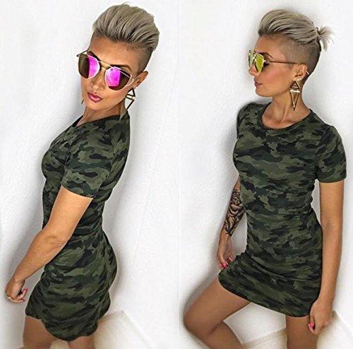 Damen Camouflage Druck Bodycon Kleid Tarnung Minikleid Tunikakleid ...