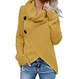 Boomboom Women's Long Sleeve Blouse Unique Style Solid Warm Sweater Pullover Tops L