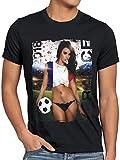 style3 WM 2018 Soccer Girl Deutschland Herren T-Shirt Fußball Trikot Germany Schwarz, Größe:XL, Land:Frankreich