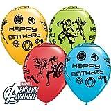 "Avengers Assemble Happy Birthday 11"" Qualatex Latex Balloons x 10"