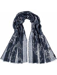 68facebd23ce Fraas Stola Mit Tier-Print, Echarpe Femme, Bleu (Navy-White 551