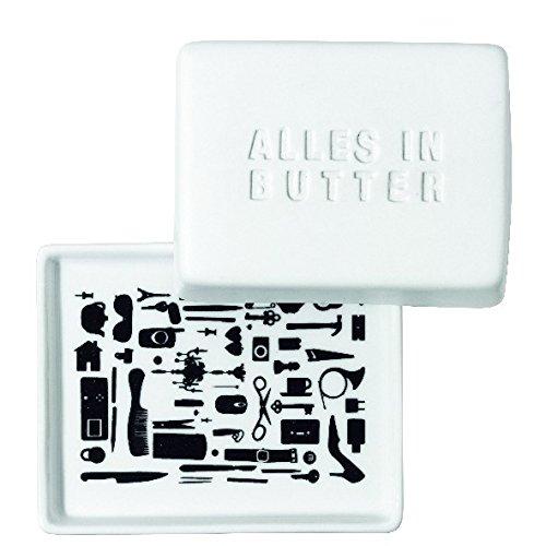 Butterdose 1/4 Butterdose klein Alles in Butter Poesie et Table Breakfast Räder Design Butter Platte
