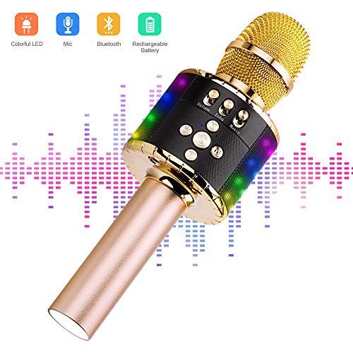 Ankuka Karaoke Mikrofon, Karaoke Mikrophon Bluetooth 4.1 mit schönem Licht, Android /IOS, PC, Ideal für Musik abspielen und singen,drahtloses Karaoke Mikrofon Kinder (Singen Karaoke)