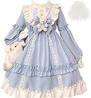 Lolita Princess Dress Kawaii Maniche Lunghe Dolce Ragazza Dolce Chiffon Vestito Fantasia
