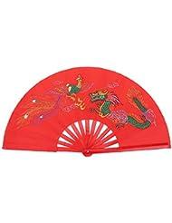 Ventilador de Bambú de Arte Chino Plegable Fan de Kung Fu Abanico de Tai Chi para Mano Derecha