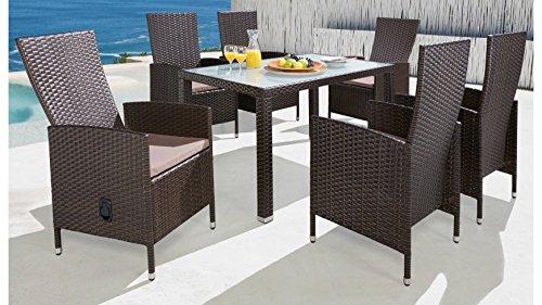 baumarkt direkt 13-tlg. Gartenmöbelset Ibiza, 6 Sessel, Tisch 140x80 cm, Polyrattan, braun braun