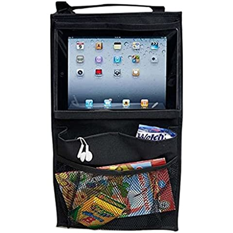 Seggiolino auto aufsetzbaren Storage & Organizer, sedili auto Tablet PC, iPad Bracket, spuntini, deposito di giocattolo Borsa, Large Size, Oxford Nero.