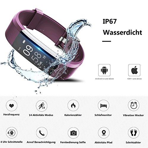 TOOBUR Schrittzähler Fitness Armband Uhr, IP67 Wasserdicht Fitness Tracker Smart Watch mit Herzfrequenz Schlafmonitor und Kalorienzähler, Aktivitätstracker Armbanduhr für Damen Herren - 2