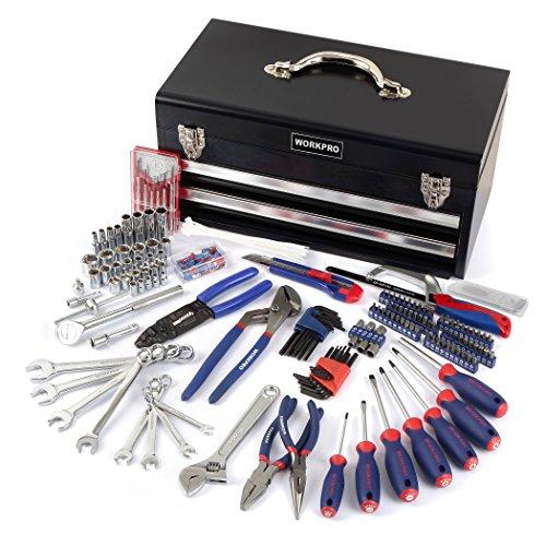 WORKPRO 229-piece Mechaniker Tool Kit mit zwei Schublade Metall Box, Basic täglichen Gebrauch Werkzeug Set