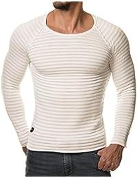 eightyfive EF1699 Jersey de punto fino a rayas, blanco, gris y negro, para hombre