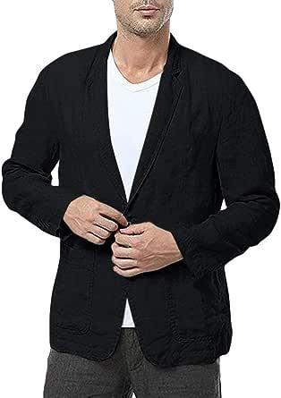 Men's Cotton Blend Suit Jacket Summer Autumn Blazer One Button Blazer Jacket Suit Coat Goosun Lightweight Slim Fit Plain Long Sleeve Thin Suits Blazer Jacket Outwear