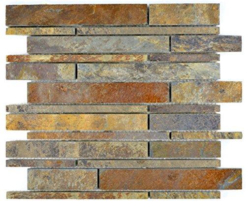 Brick-mosaik-fliesen-böden (Mosaik Fliese Schiefer Naturstein rost Brick Schiefer rustik für BODEN WAND BAD WC DUSCHE KÜCHE FLIESENSPIEGEL THEKENVERKLEIDUNG BADEWANNENVERKLEIDUNG Mosaikmatte Mosaikplatte)